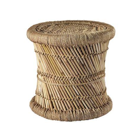 maisons du monde canape tabouret tressé en fibres naturelles et bambou mogale
