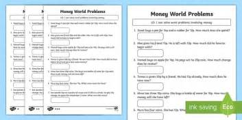 money word problems activity sheet maths money y2 year 2