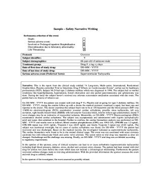 sample  adverse event narrative writing fillable