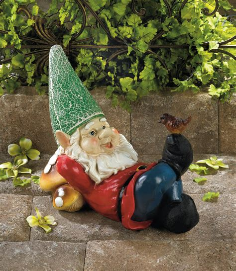 lazy gnome solar garden statue wholesale at koehler home decor