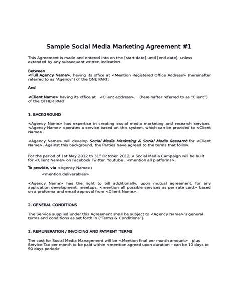 sle social media marketing agreement free