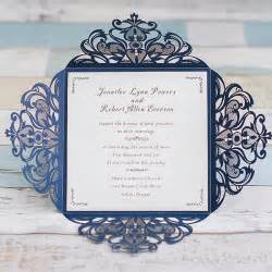 wedding program cover wording graceful navy blue laser cut wedding invitation ewws030 as