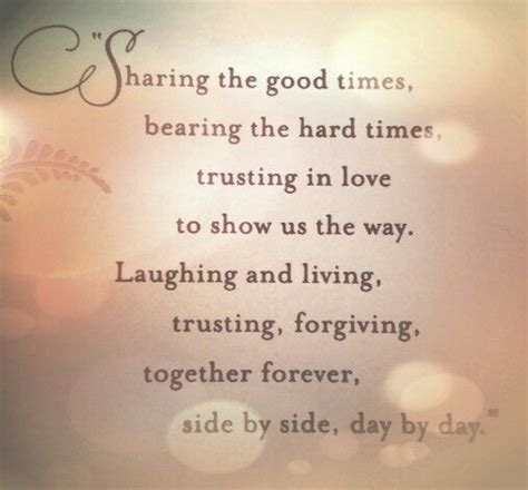 sharing  good times   hard times trusting