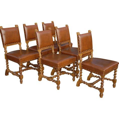 vintage set of six carved wood barley twisted dining