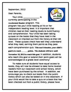 accelerated reader parent information letter