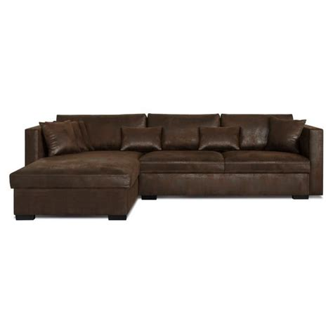m canape malma canapé d 39 angle réversible 5 places tissu marron
