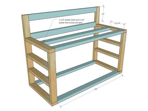 tall workbench  wood storage ana white
