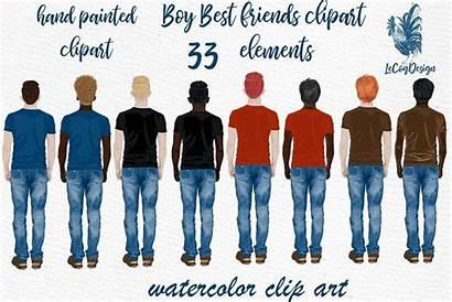 Boys Clipart Male Watercolor Friend Boy Figures