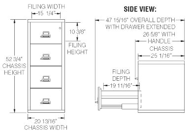 File Cabinet Sizes by Fireking 4 2125 C Four Drawer 25 Quot Vertical Size