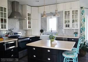 carrara marble slab panel backsplash black white kitchen 677