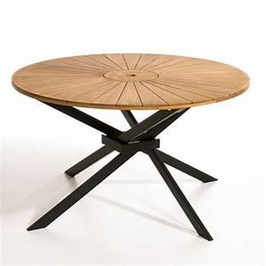 Table De Jardin Ronde En Bois : table de jardin ronde jakta teck am pm la redoute ~ Dailycaller-alerts.com Idées de Décoration