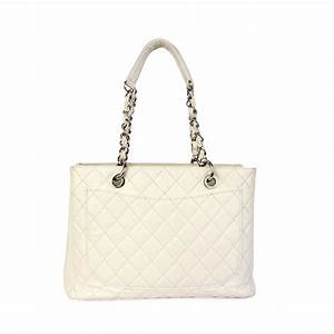 CHANEL Quilted Leather Grand Shopping Tote White - Luxity