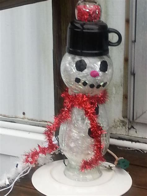 hometalk     repurposed glass holiday snowman