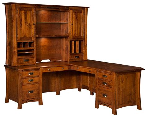 all wood desk with hutch arts crafts corner l desk with optional hutch from
