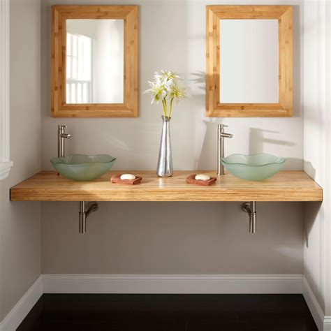 73 Bamboo Wall Mount Vanity Top For Vessel Sinks