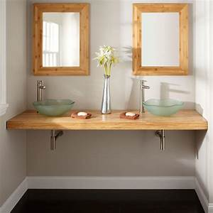 73quot bamboo wall mount vanity top for vessel sinks for Bamboo in the bathroom