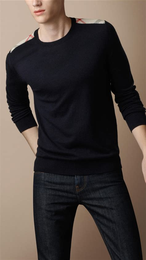 mens burberry sweater burberry brit check shoulder sweater in black for