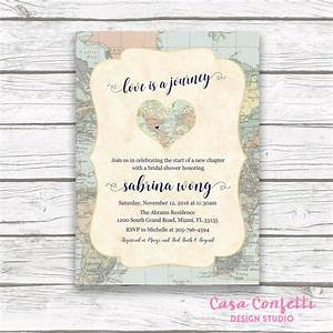 map travel bridal shower invitation love is a journey With bridal shower invitations for destination wedding