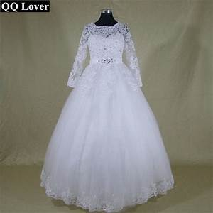 ilsqq lover 2017 new new arrival white ivory lace long With ivory lace sleeve wedding dress