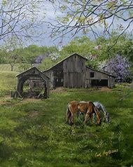 Old Barn and Horse Painting