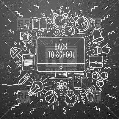 school freehand chalk drawing  school items