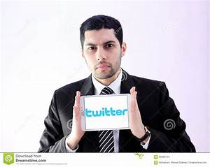 Arab Business Man With Twitter Editorial Stock Image ...