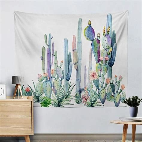 cactus watercolor tapestries  designs