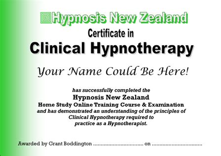 nz certificate  clinical hypnotherapy home study