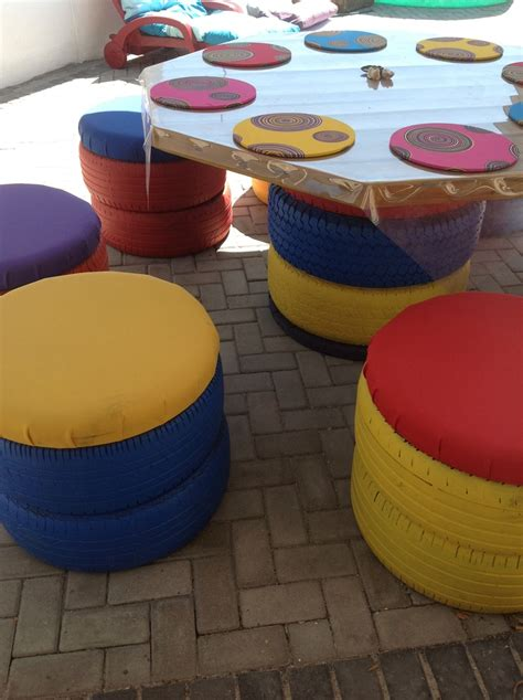 outdoor furniture made from tyres the table top is