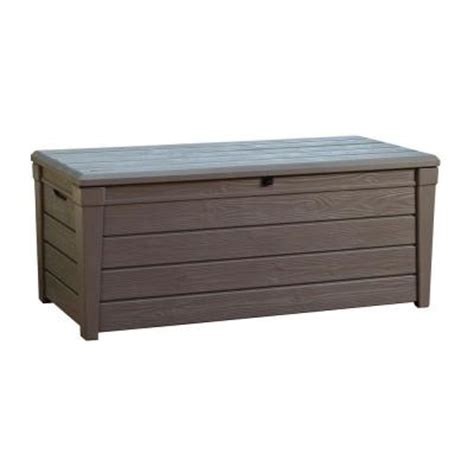 keter deck box 120 gallon keter brightwood 120 gal deck box in taupe 213273 the