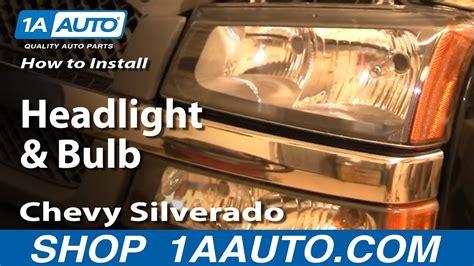 install replace headlight  bulb chevy silverado