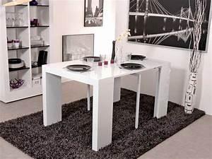 Table Console Extensible : table console extensible algo blanc brillant ~ Teatrodelosmanantiales.com Idées de Décoration