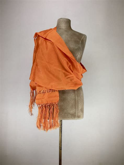 Mexican traditional silk rebozo - orange - East Los Outfitters