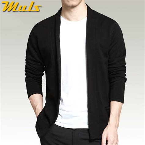 sleeve sweater mens cardigan shawl sleeve black color autumn
