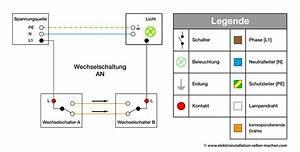 Schaltplan Einfache Ausschaltung : wechselschalter an 1 wechselschalter elektroinstallation ~ Haus.voiturepedia.club Haus und Dekorationen