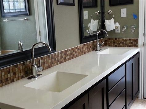 concrete counter tops continuous  sinks easy  clean