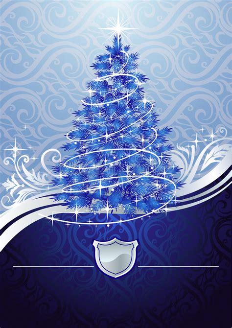 silver blue christmas tree stock vector illustration