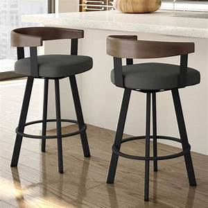 Amisco, Lars, Charcoal, Grey, Counter, Height, Upholstered, Swivel, Bar, Stool, In, The, Bar, Stools