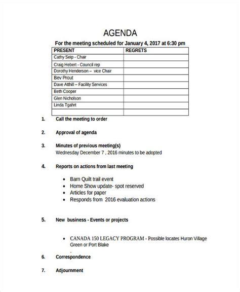 event agenda examples samples