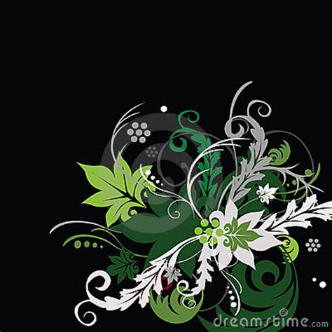 green flowers   black background royalty  stock