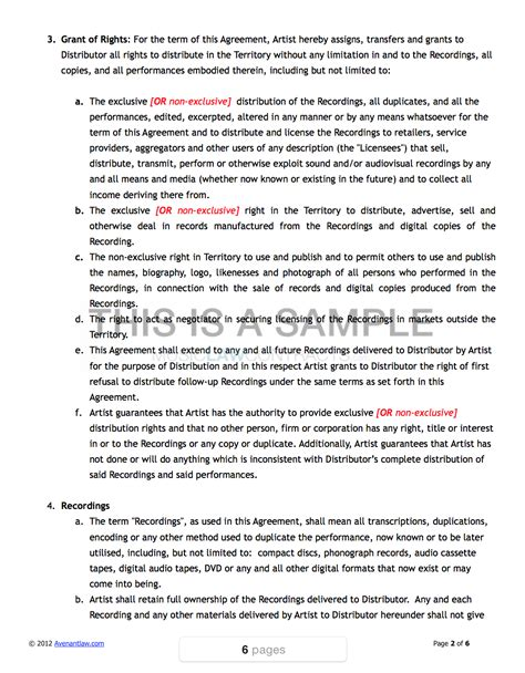 360 Deal Contract Template by Contract Recording Contract Template