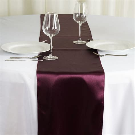 """10 12"""" X 108"""" Satin Table Top Runners Wedding Party Linens"""