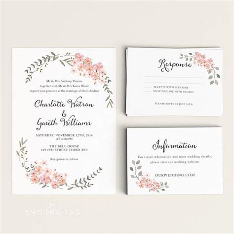 printable wedding invitation printable floral wedding