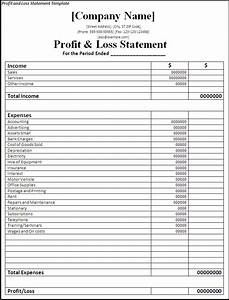 printable profit and loss statement free word39s templates With profit and losses template