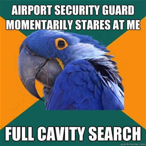 Security Guard Meme - airport security guard momentarily stares at me full cavity search paranoid parrot quickmeme