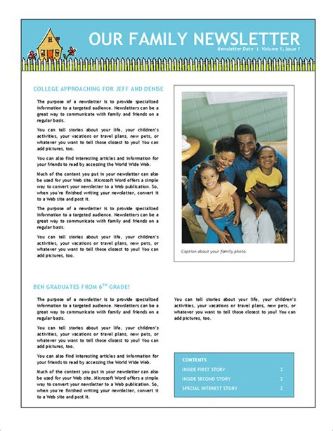 free newsletter templates word 7 family newsletter templates free word documents