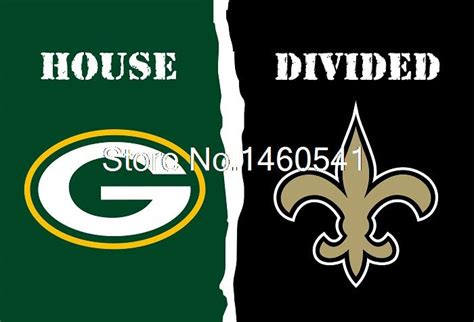green bay packers new orleans saints house divided flag