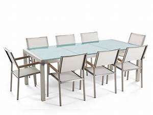 Chaise En Verre : ensemble de jardin table 220 cm en verre et 8 chaises blanches tulius ~ Teatrodelosmanantiales.com Idées de Décoration