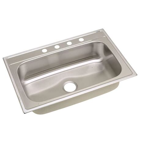 single bowl drop in kitchen sink elkay signature drop in stainless steel 33 in 4 9302