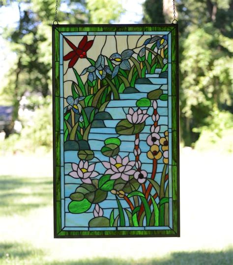 Decorative Window Stained Glass - 20 quot x 34 quot lg decorative style stained glass window